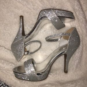 Sparkly silver prom heels
